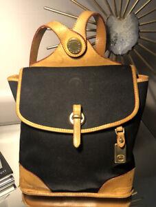 Dooney & Bourke Backpack Canvas Leather Black Vintage Purse Bag USA