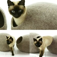 Cat cave bed,house,from 100% wool for pet. handmade - Color Sand brown  Size M