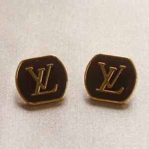 Set of 2 Louis Vuitton LV Logo Buttons 18mm, Brown, Gold, Square, Stamped
