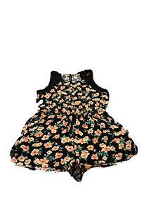 Black / Orange Playsuit Sleeveless Size16  Good Condition Jay Jays Viscose