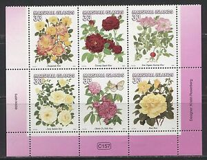 FLOWERS: ROSES ON MARSHALL ISLANDS 2000 Scott 729, SET / BLOCK OF 6, MNH