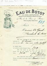 Paris II ème & Dépt 92 - Usine à Levallois Perret Belle Entête Eau de BOTOT 1905