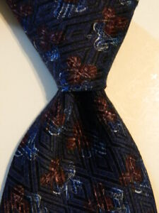 ERMENEGILDO ZEGNA Men's Silk/Wool Necktie ITALY Luxury FLORAL Blue/Purple EUC