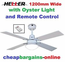 Heller Ceiling Fan With Oyster Light & Remote Control 1200mm 4 Blades SIENNA2