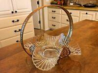 Antique Bridal Basket Victorian Decor Ribbed Glass Filigree Brass Holder EUC