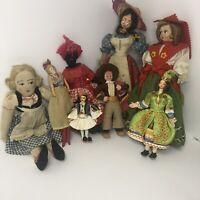 Mixed Lot Of 8 Vintage Folk Art Dolls. Some Primitive, Handmade. Mix of Cultures