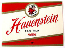 John Hauenstein Co HAUENSTEIN NEW ULM BEER label MN 12oz No ABW