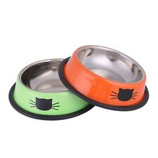 Double Bowls for Cats Dogs Food Dish and Water Feeding Stainless Steel Set of 2