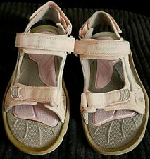 WOMENS GIRLS HUSH PUPPIES PINK CUSHIONED WEDGE SANDAL SHOES SIZE 2 EUR 34