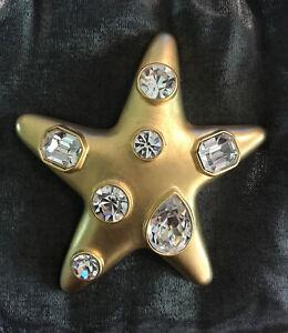 Signed KJL Kenneth Jay Lane StarFish Golden Clear Crystal Brooch Vintage