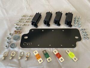 Midi Fuse Battery Plate Set Holds 4x Midi Fuse Holders, Includes Fuses & Lugs