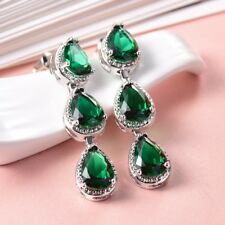 Promise Women Engagement Green Emerald CZ Crystal Pierced Stud Dangle Earrings