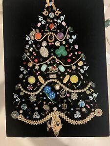 Elegant Framed Vtg Jewelry Lighted Christmas Tree 13X16 Velvet One Of A Kind