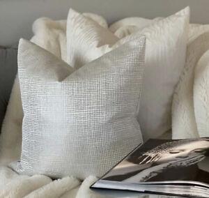 "Luxury Cushion Cover 16"" Designer Fibre Naturelle Fabric Silver Decor STUNNING!"