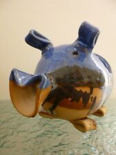 More details for unusual hand crafted canterbury pottery salt pig / sugar / planter blue & brown