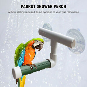 Bird Parrot Budgie Shower Stand Suction Cup Perch Window Wall Toys Paw Grinding
