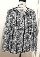 CJ Banks Women's Plus Size 1X 16/18 Jacket Blazer Front Zip Black White Print