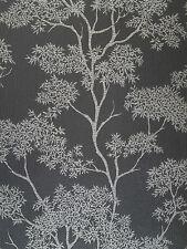 Aspen Luxury Black Silver Glitter Tree Textured Vinyl Feature Wallpaper FD40979