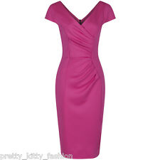 1940s Vintage Cerise Hot Pink Wiggle Pencil Bodycon Hollywood Cocktail Dress