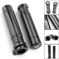 "Universal 7/8"" 22mm CNC Carbon Fiber Handle Bar Grips Motorcycle Hand Grips BK B"