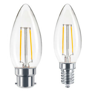 2W COG LED Candle Light Bulb Chandelier Energy Saving Filament Lamps E14 B22