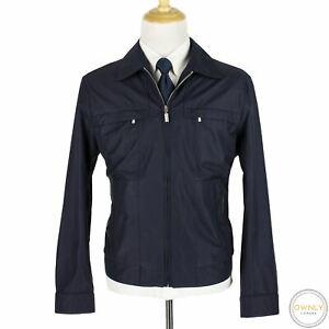 NWOT Brioni Navy Cotton Wool Silk Leather Trim Glossy Blouson Jacket XXL
