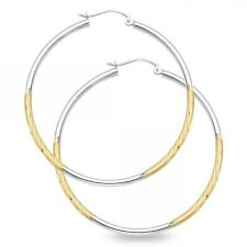 Solid 14k Yellow & White Gold Round Hoop Earrings Diamond Cut Satin Finish Fancy