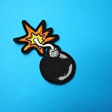 Cartoon Comic Bomb Patch Iron-On/Sew-On Embroidered Applique Motif, Punk Rock
