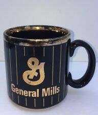 General Mills Advertising Black And Gold Coffee Mug Made In England 14 Oz