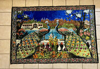 """Vintage Peacock Tapestry Colorful Rare Rug Pattern Wall Hanging Velvet 75"""" x 50"""""""