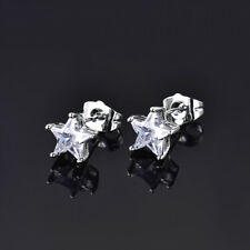 HUCHE Classic Star Cut Diamond Clear Gemstone Silver Gold Filled Lady Earrings