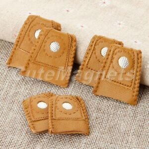 2Pcs Leather Thimbles Finger Sewing Grip Shield Protector for Needle Metal Tip