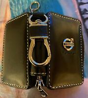 "Black Leather ""Volvo"" Car Keyholder Ring Keychain Case Holder Zipped Bag purse"