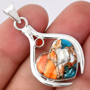 Heart Spiny Oyster Turquoise and Carnelian 925 Silver Pendant Jewelry 5509