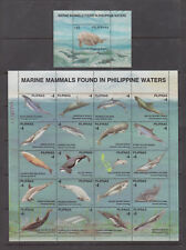 Philippine Stamps 1998 Marine Mammals sheet of 16v & Souvenir sheet complete MNH