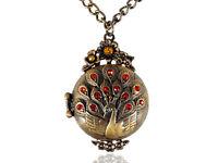 Womens Gift Vintage Antique Golden Tone Peacock Bird Locket Pendant Necklace New