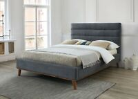 Mayfair Fabric Bed Double or King Size in Light or Dark Grey Bedroom Furniture
