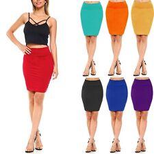 Women's Pencil Midi Mini Skirt Basic Bodycon Shinny Stretch Material S~XL