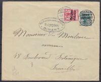 Besetzung Belgien Mi Nr. 3, 12 MiF Zensur Brief Dinant - Brüssel 1917, WW I