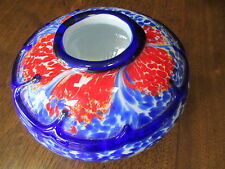 "MURANO COBALT BLUE,RED,GREEN & WHITE SOMMERSO BOLLE 4""TALL/7""WIDE ART GLASS BOWL"