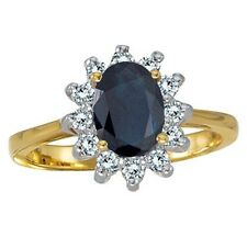 Sapphire and 1/3ct Genuine Diamond Ring 14K Yellow Gold Genuine 8x6 Oval Blue