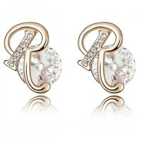 18K Rose Gold Plated Made With Genuine Swarovski Crystal Letter R Stud Earrings