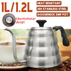 1L/1.2L Stainless Steel Drip Tea Coffee Kettle Gooseneck Spout Pour Over Water