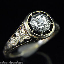 Estate Diamond 10k Yellow White Gold Ring Promise Vintage Filigree Butterfly