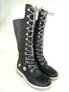Timberland Women's Knee High Boots US 6M Black White Waterproof Custom Lace-Up