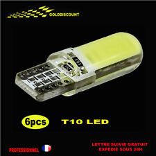 6  t10 led w5w cob Blanc Pur 6000k xenon silicone anti erreur canbus 12v *
