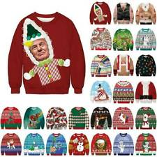 Weihnachten Damen Pullover 3D Sweatshirt Weihnachtspullover Ugly  Sweats Pulli
