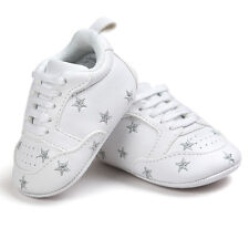 Toddler Newborn Baby Boy Girl Soft Sole Shoes Leather SNEAKERS Pram Trainers UK Pink Star 6 12 Months