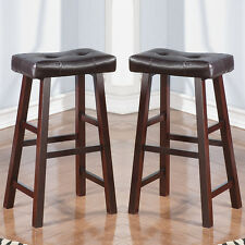 Set of 2 Dark Cherry Faux Leather Solid Wood H Saddle Counter Height Bar Stool