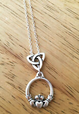 Claddagh Friendship Scottish Irish Celtic Knot Cross Sterling Silver Necklace